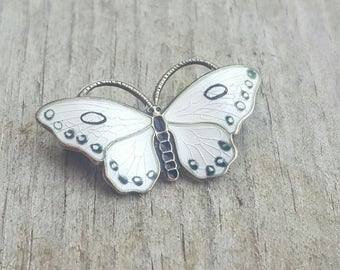 Vintage Opro Sterling Norway Black & White Butterfly Petite Brooch Pin