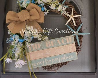 Ready to Ship Beach Grapevine Wreath/Front Door/Door Wreath/Summer Wreath/Everyday/Twig Wreath/Nautical/Starfish/Burlap Wreath/Housewarming