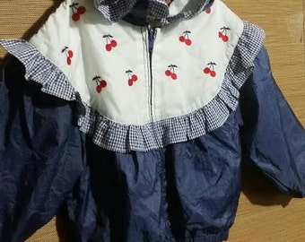 Cutest little girl 1980's ruffle trimmed hooded jacket, adorned with  red cherries.