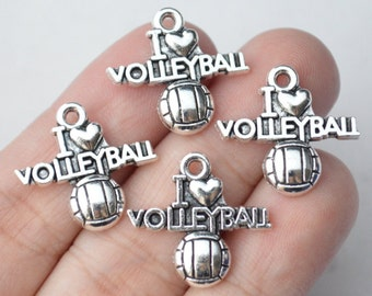 8 Pcs Volleyball Charms I Love Volleyball Charms Antique Silver Tone 20x21mm - YD1145