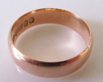 Antique George V 1917 9ct Rose Gold Plain Wedding Band (5mm) Ring Size N 1/2