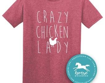 Crazy Chicken Lady | Barn Life | Farm Girl | Farm T Shirt | Chickens |  Humor  Farm | *New* Softstyle Unisex T Shirt |  Soft