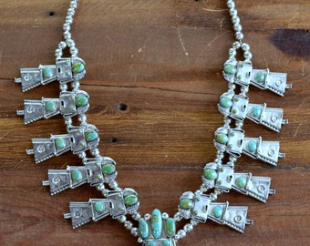 Vintage Navajo Sterling Silver and Turquoise Kachina Squash Blossom Necklace