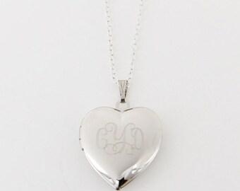 Monogram Heart Locket - Silver Monogram Heart Locket - Monogrammed Locket - Heart Locket - Locket
