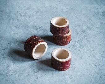 Live Edge Wooden Napkin Ring Set Of 4