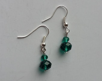 Emerald Green Glass Crystal Drop Earrings