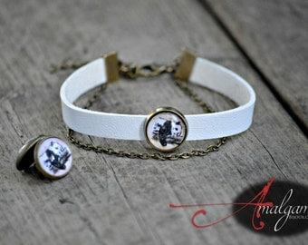 Collaboration Marie-Eve Pharand illustrator, sleeping panda, Cuff leather bracelet, glass cabochon, women gift, leather, Amalgame