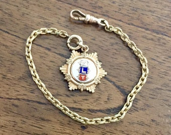 Vintage Odd Fellows FLT Watch Fob Chain Gold Filled Fraternal