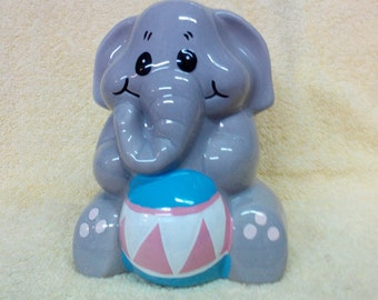Bank Elephant with ball, Ceramic, Vintage