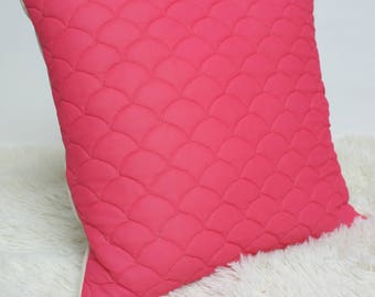 """Retro Cushion Cover, Amazing 60s/70s Fabric, 16x16"""", Vintage Pink Quilted"""