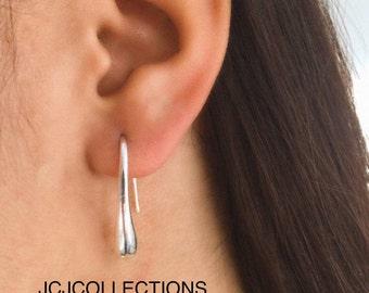 925 Silver Water Drop / Open Hoop / Drop Earrings