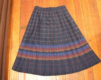 vintage Sears Junior Bazaar plaid pleated skirt