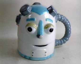 Unique Robot Mug Holds 16 oz/Paint Chipped In Different Ares/See Description For Details/Priced Accordingly (S)