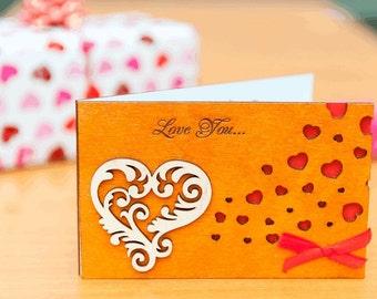 "Wood LOVE card, wood VALENTINES card, wood greeting card, valentines gift, wood, card, love, gift, wooden,  love card ""Heart"" cedr"