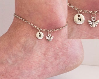 Silver initial bee anklet, bumble bee anklet, ankle bracelet, silver anklet,anklet,beach jewellery, anklet,yoga jewellery,SPBEEAN01