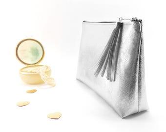 Personalized bridesmaid cosmetic bag Monogram bridesmaid makeup bag Personalized gift for bridesmaid Silver monogrammed makeup bag Monogram