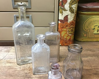 Vintage Old Bottles Amathyst Glass Clear Glass Set of 5