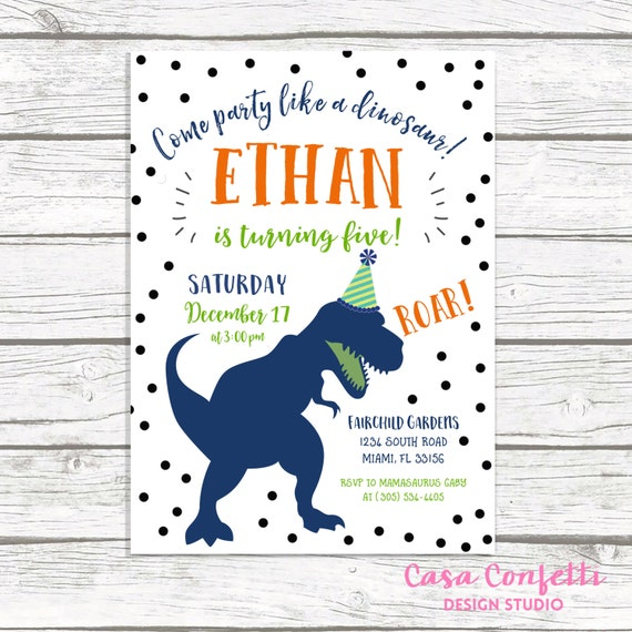 Dinosaur Party Invitations - Customizable
