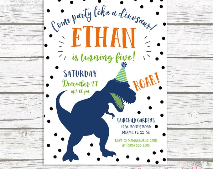 Dinosaur Birthday Invitation, Dinosaur Invitation, Dinosaur Birthday Party Invite, Dino Birthday Invitation, First 1st Birthday Boy