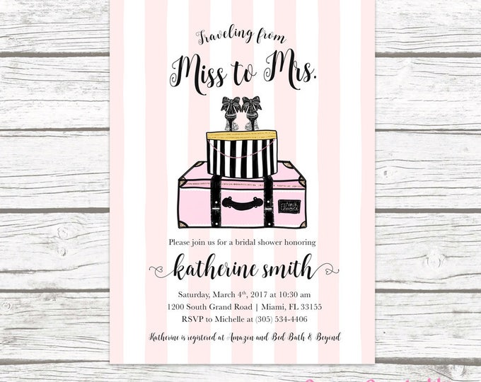Travel Bridal Shower Invitation, Travel from Miss to Mrs. Bridal Shower Invitation, Traveling Bridal Shower Invitation, Luggage Invitation