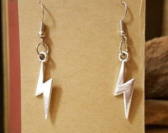 Harry Potter Inspired Lightning Bolt Earrings with Sterling Silver Hook Option