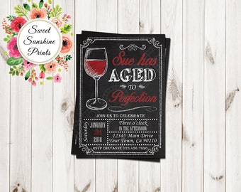 Aged to Perfection Birthday Invitation - Wine