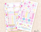 In full bloom - Personal planner sticker kit (2 pages) / Spring Summer stickers