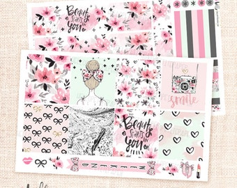 Girly  / 2 sheets kit for Horizontal Erin Condren planner - Floral stickers