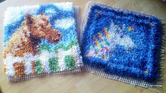 Latchhook horse and unicorn mats
