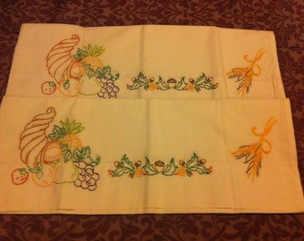 Hand embroidered Cornucopia Pillow Cases - 1 pr Free shipping