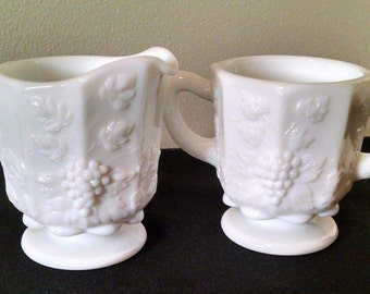 Westmoreland Milk Glass Sugar and Creamer Set - Panel Grape Pattern -Mid Century 1950's Collectible Glass