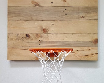 Pallet Wood Basketball Goal. Indoor Wall Mounted Basketball Hoop. Reclaimed Wood Basketball Hoop With Orange Rim