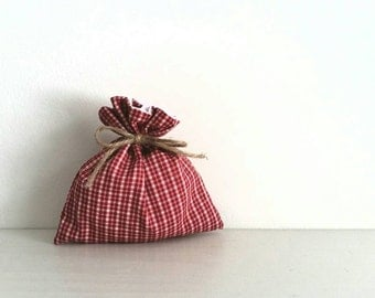 Drawstring cotton gift bag - fabric red and white plaid 5X5