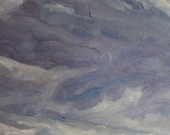 "Original Painting of Morning Clouds over the Sea, Oil on Canvas Board, 9.5"" x 7.1"""