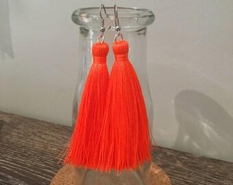 Neon Orange Tassel Earrings