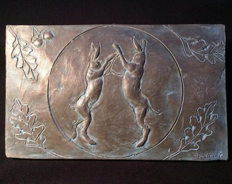 Boxing hares wall art, cold cast bronze garden sculpture, dancing hares and moon art, garden art, garden gift, hares picture