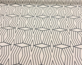 Cotton Canvas Diamond Stripe Stone White/Slate West Elm Fabric by the yard