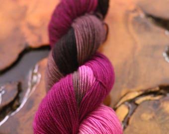 "SALE, Hand Dyed ""Raspberry Truffle"", Sport, Super Wash Merino, Wool, Knitting, Crochet, Yarn"
