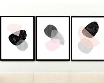 Modern Scandinavian Art, Triptych, Set of 3 Prints, Printable Art, Pink And Grey Art, Abstract Art, Wall Decor, Wall Art, Instant Download