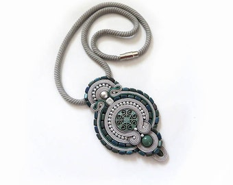Gray Soutache Pendant, boho Necklace, Rustic Necklace, Soutache Jewelry, Handmade Jewelry, Soutache Necklace, Hand Embroidered