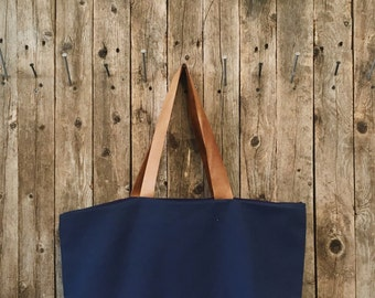 Flannel Tote Bag with Leather Handles, Leather Handbag, Canvas Tote, Brown Leather Tote, Gift for her, Bridesmaids Gift, Flannel Bridesmaid