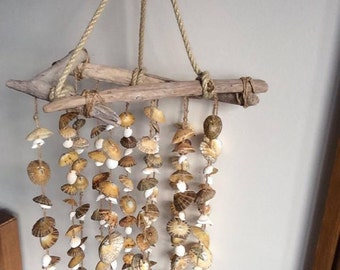 Sea Shell Wind Chime, Nautical Home Decor, Beach Mobile, Driftwood