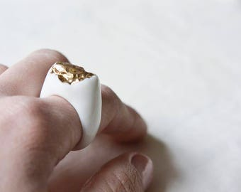 Porcelain Jewelry, Ceramic Jewelry, Handmade Ring, Massive Ring, Porcelain Ring, Gold Plated Ring, White Ring, Glazed Ring, Gold Ring