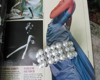 Pearl Rhinestone Cuff Bracelet Faux Pearls Hollywood Glamor Costume Jewelry Vintage Art Gift