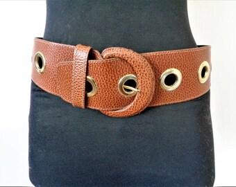 Camel Genuine Leather Belt, Wide Leather Belt, Italian Leather Womens belt w/ Gold Details, Brown Leather Belt