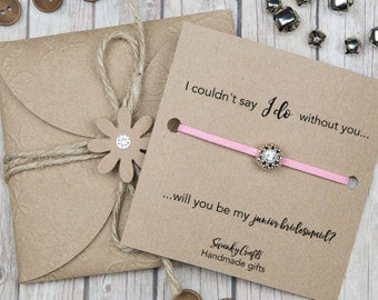 Junior Bridesmaid bracelets - will you be my Junior bridesmaid - I couldnt say I do without you - gifts for her - gifts under 10