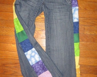 Custom Handmade Upcycled patchwork Jeans ~ make your favorite tight pants fit again!!!