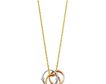 14K Yellow Gold, Rose Gold and White Gold Trio Circle Diamond Pendant Necklace