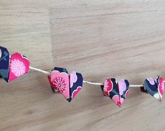 Mini Heart Origami Bunting, baby bunting, baby girl gift, mothers day gift, pink and navy hearts, origami, wedding favour
