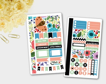 Planner Stickers, Flower Personal Planner Stickers, Flower Field Planner Stickers, Weekly Personal Planner Stickers